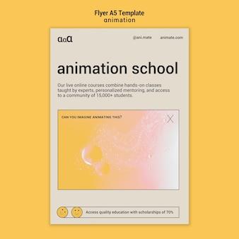 Modello di volantino scuola di animazione