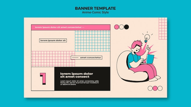 Anime comic style banner template