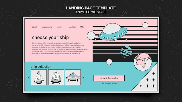 Anime comic style landing page template
