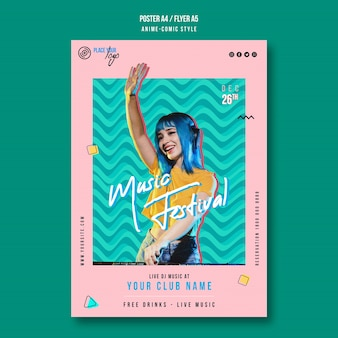 Anime-comic style music festival flyer template