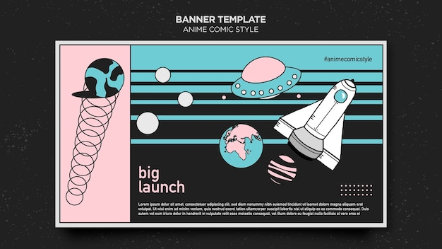Anime comic style template banner