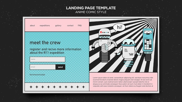 Anime comic style template landing page