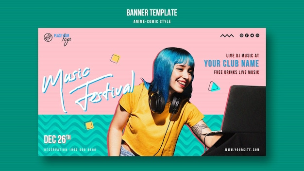 Anime-comic style woman smiles banner template