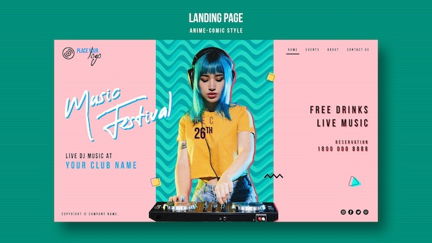 Anime-comic style woman with blue hair landing page