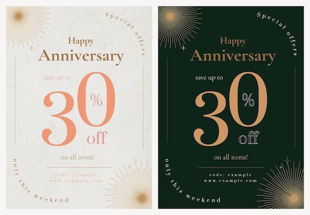 Modello di poster di vendita anniversario psd per set di post sui social media