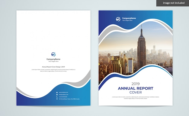 Annual report cover with image and back design