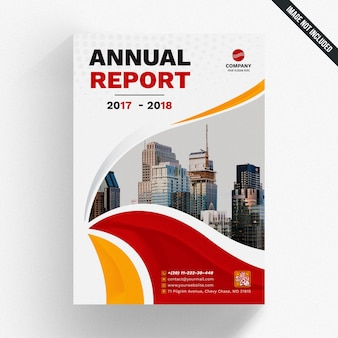 Annual report mockup with wavy shapes