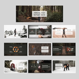 Annual report set with nature concept