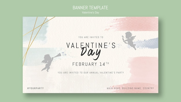 Annual valentine's day party invitation with angels