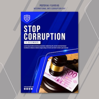 Anti corruption day flyer template