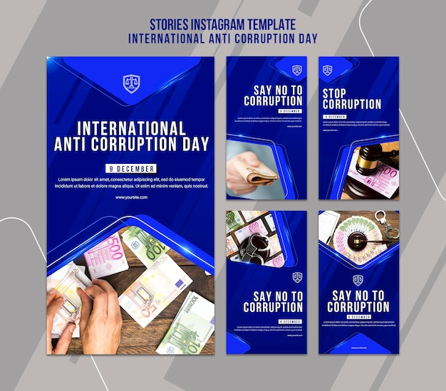 Anti corruption day instagram stories template