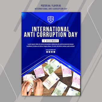 Anti corruption day poster template