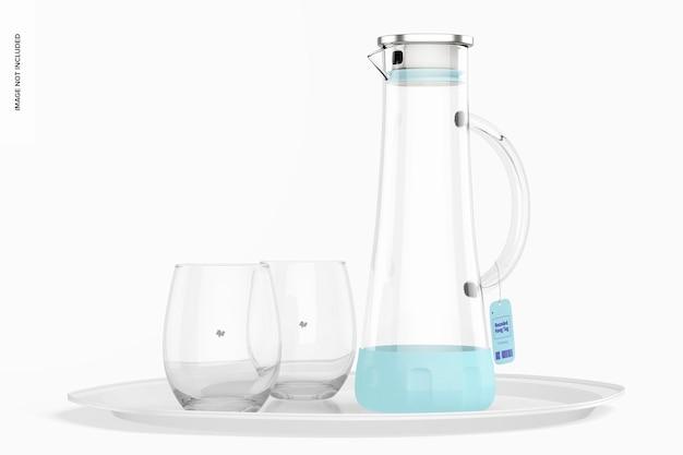 Противоскользящая стеклянная банка для воды с мокапом в очках