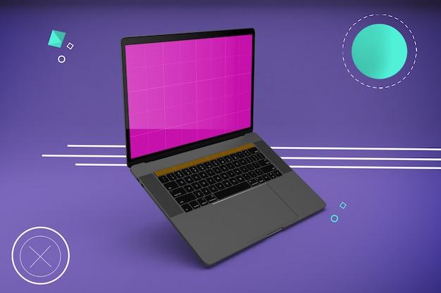画面モックアップ付きの反重力ラップトップコンピューター