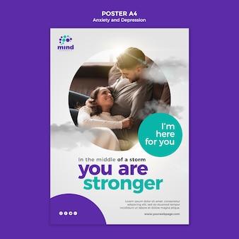不安とうつ病のテンプレートポスター