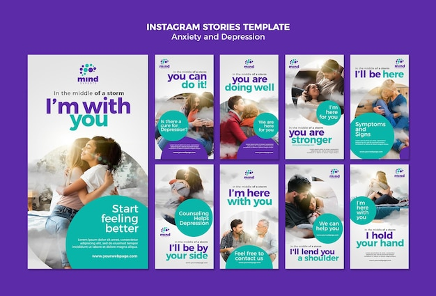 Anxiety and depression instagram stories template Premium Psd