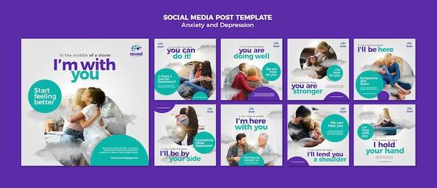 Anxiety and depression social media post template
