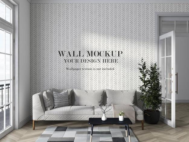Квартира гостиная с дизайном макета стены