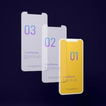 휴대폰 디스플레이의 앱 인터페이스 목업