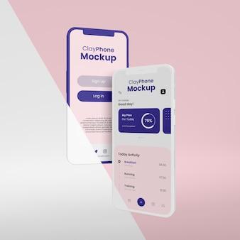 Макет интерфейса приложения на дисплее телефона Premium Psd