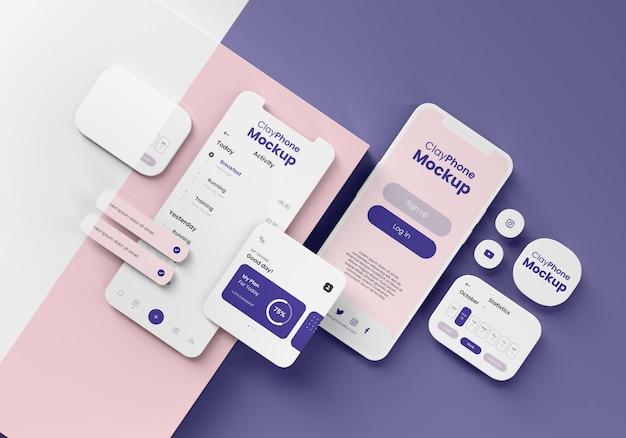 電話ディスプレイのアプリインターフェースのモックアップ