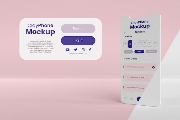 전화 화면 구성의 앱 인터페이스 목업