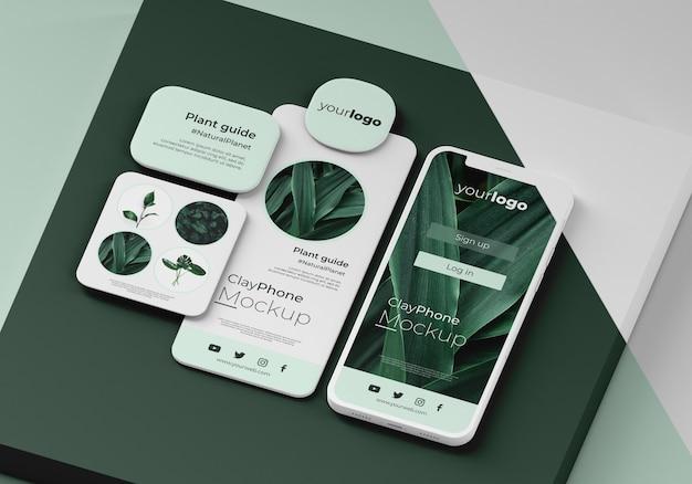 전화 화면의 앱 인터페이스 목업