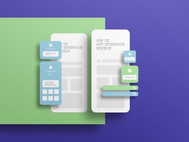 Интерфейс приложения с макетом всплывающего экрана
