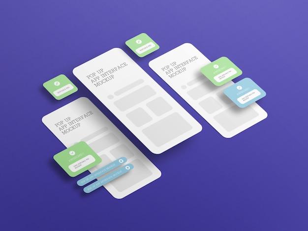 Interfaccia dell'app con mockup dello schermo pop-up