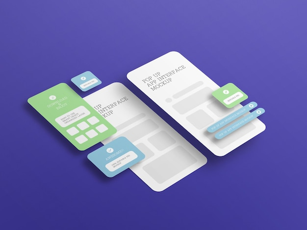 App interface with pop up screen mockup