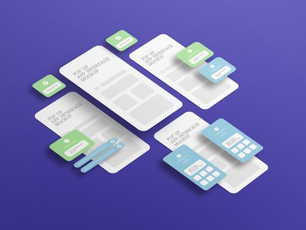 ポップアップ画面のモックアップを使用したアプリ インターフェース