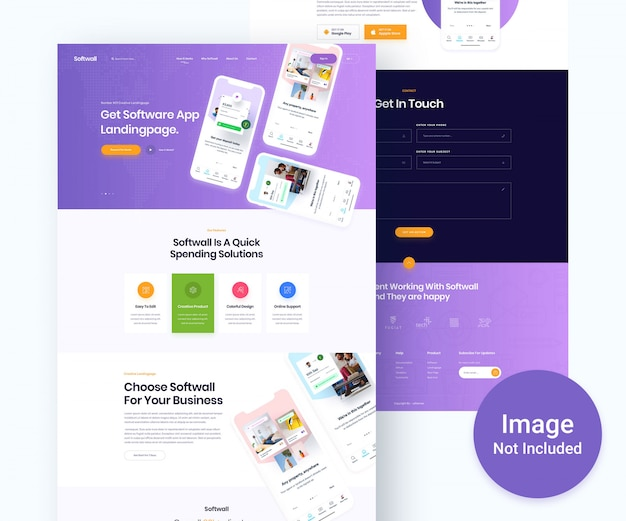 App landingpage and showcase psd template
