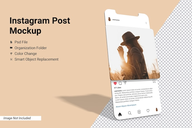 App screen instagram post mockup isolated