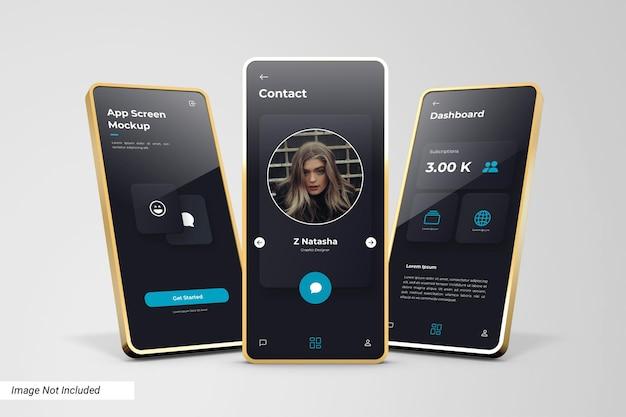 Мокап экрана приложения с 3d-золотой рамкой