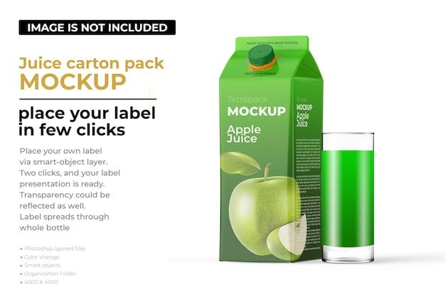 Apple juice carton pack mockup