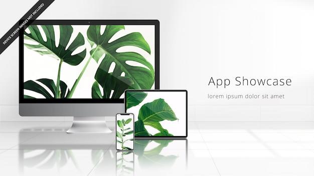 反射型タイル張りの床の白い部屋でのappleデバイスuhdモックアップ(imac、ipad pro、iphone xs)