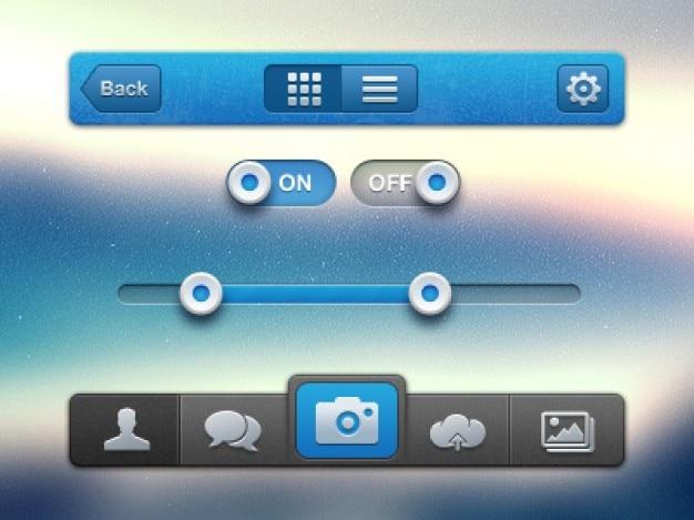 Яблоко ui интерфейс с синими и серыми кнопками