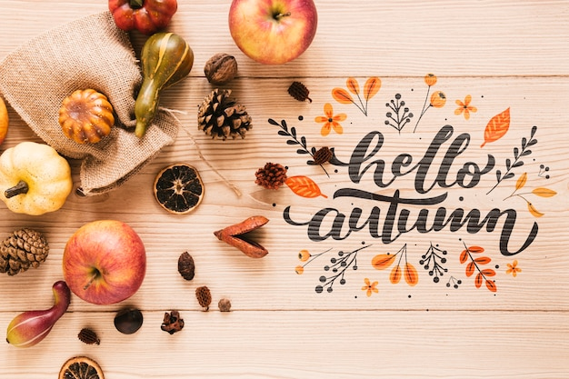 Apples with hello autumn quote