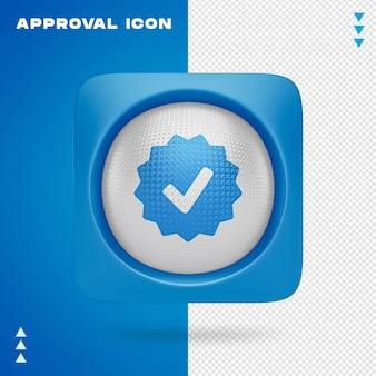 Approval icon design in 3d rendering