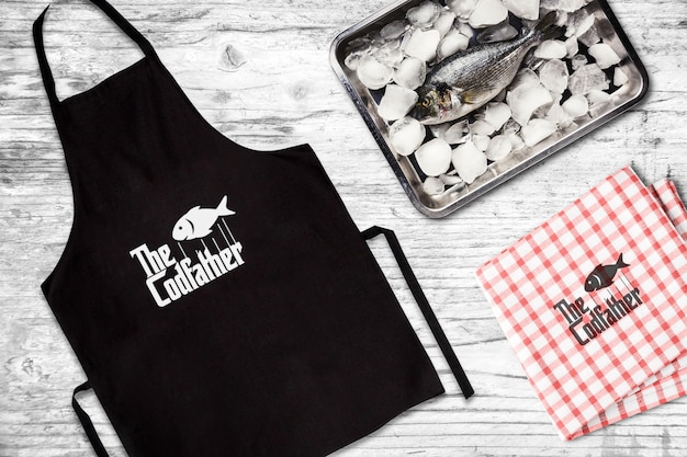 Ресторан морепродуктов apron mockup