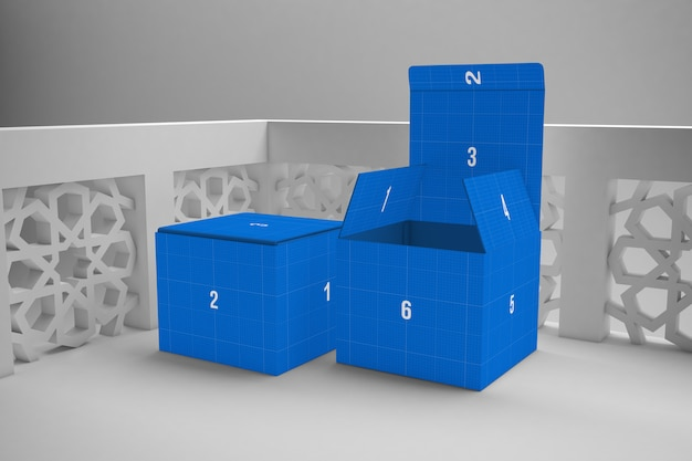 Arabic composition with blue boxes mockup