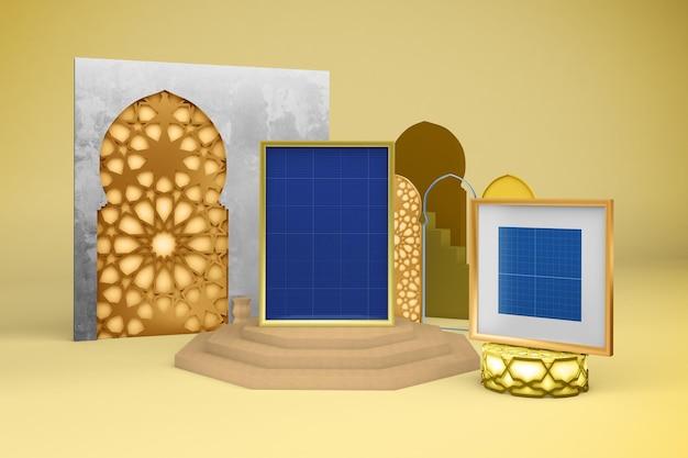 Мокап дизайна арабских рамок