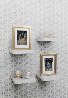 Arabic new year arrangement with frames on shelves