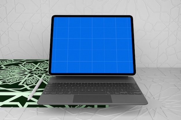 Arabic table with tablet and keyboard mockup