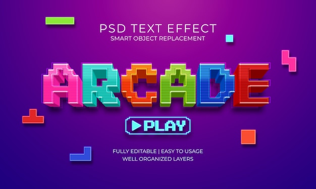 Arcade game text effect