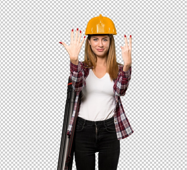Architect woman counting seven with fingers