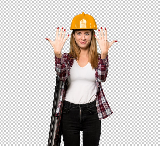 Architect woman counting ten with fingers