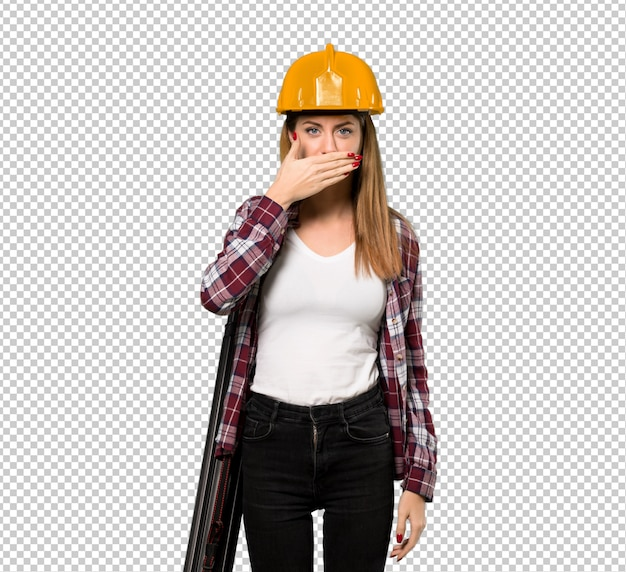 Architect woman covering mouth with hands for saying something inappropriate