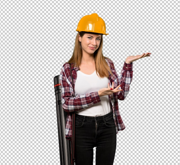 Architect woman extending hands to the side for inviting to come