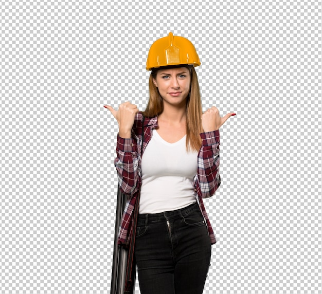 Architect woman giving a thumbs up gesture and smiling
